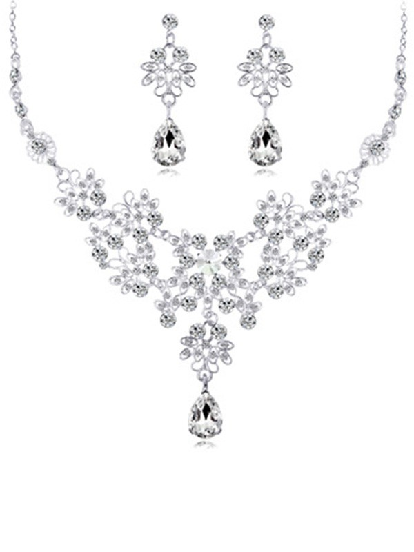 Fancy Alloy With Crystal Wedding Bridal Jewelry Set