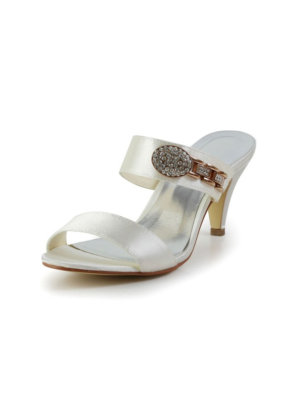 Des femmes Attractive Satiné Peep Toe Talon cône avec Faux diamants Ivoire Sandal Shoes