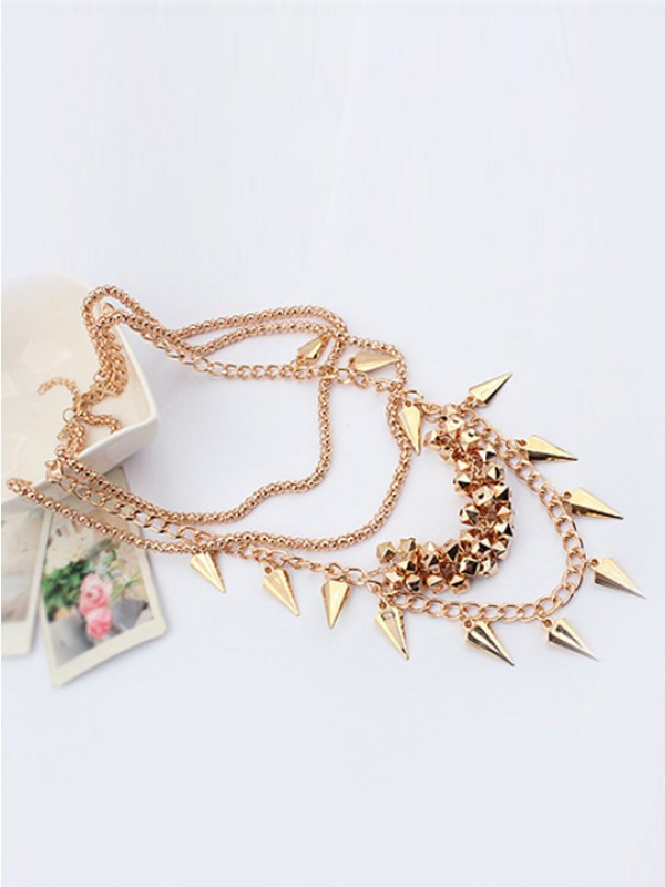 Occident Hyperbolic Chic Street shooting style Button screw Metallic Multi-layeRouge Vente chaude Colliers