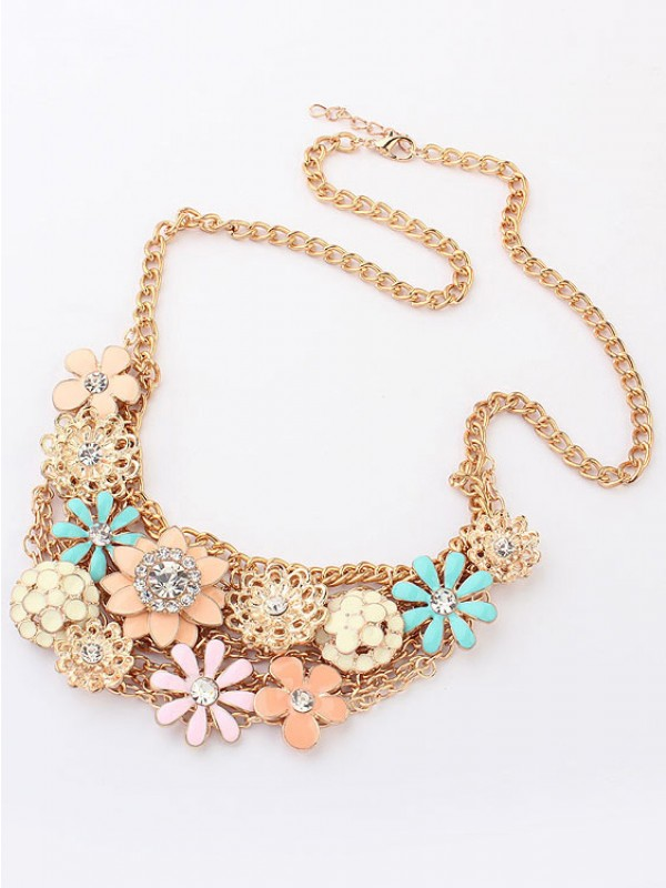 Korean version Sweet Fresh Fleurs Metallic Vente chaude Colliers