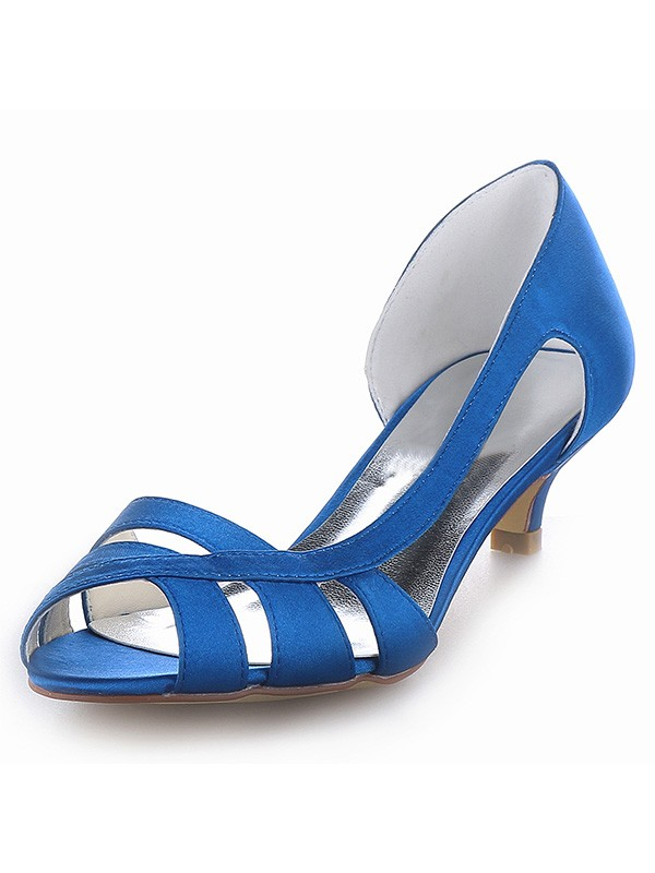 Des femmes Satiné Peep Toe Talon de chaton Sandales Shoes