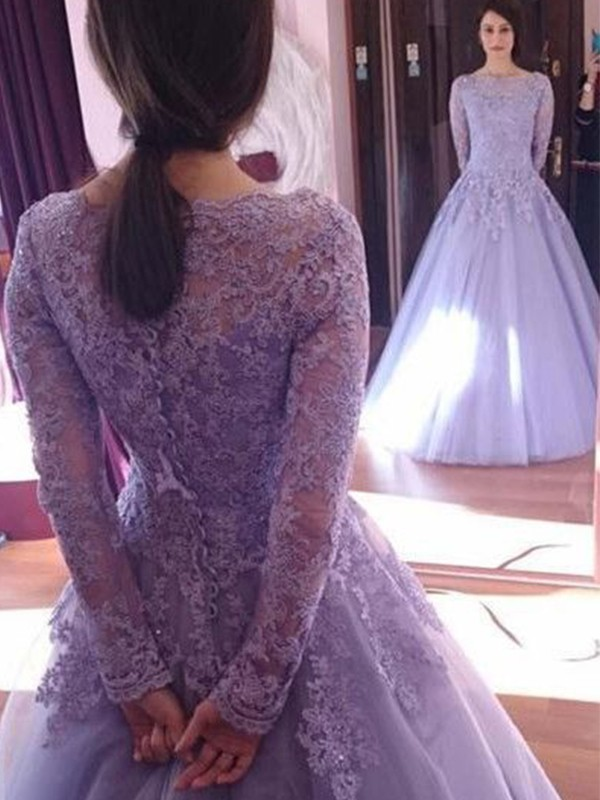 Forme Marquise Bijou Tulle Manches Longues Longueur Sol Robes
